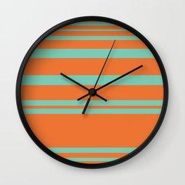 Cyan and Orange Stripes Minimalist Color Block Pattern Wall Clock