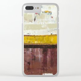 Timber Maroon Gold Abstract Art Painting Clear iPhone Case