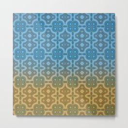 Blue and Gold Moroccan Boho Chic Inspired Tile Mosaic Metal Print