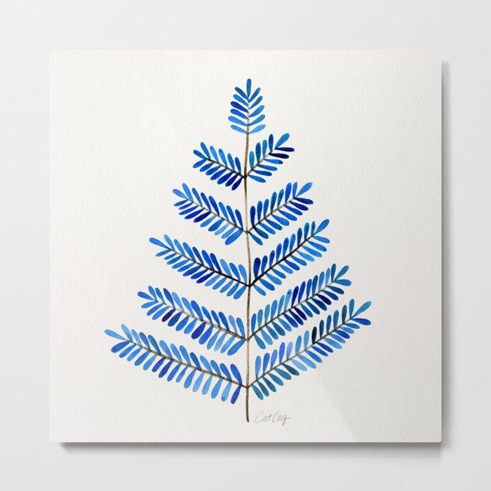 Blue Leaflets Metal Print