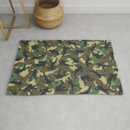 American Football Player Camo Woodland Camouflage Pattern Rug
