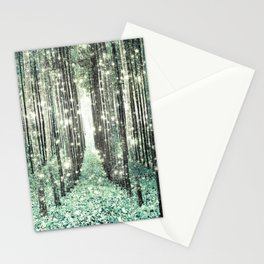 Magical Forest Seafoam Green Gray Stationery Cards