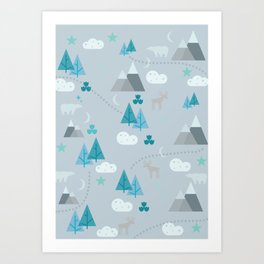 Winter Forest Mountains And Trees Art Print