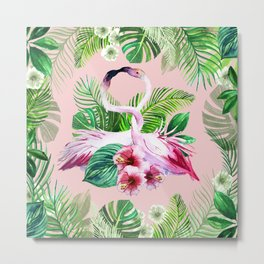 watercolor illustration of a tropical leaf and a pink flamingo Metal Print