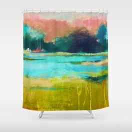 Lime and Turquoise Shower Curtain