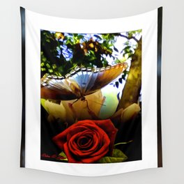 The Butterfly And The Rose Framed Wall Tapestry