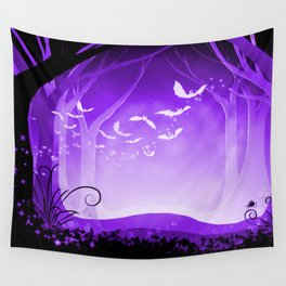 Dark Forest at Dawn in Amethyst Wall Tapestry