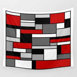 Mid Century Modern Color Blocks in Red, Gray, Black and White Wall Tapestry
