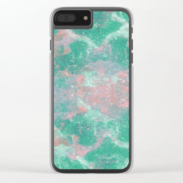 Sea Green Foam Clear iPhone Case