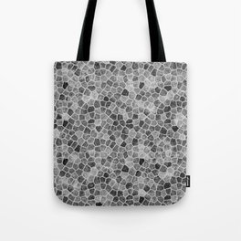 The Paths Taken Black and White Cobblestone Pattern Tote Bag