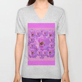 Fuchsia Purple Pink Wild Roses Pattern Art Unisex V-Neck