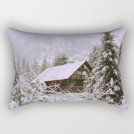 A cabin amongst the snow Rectangular Pillow
