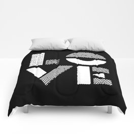 Love black and white contemporary minimalist typography design home wall decor bedroom Comforters