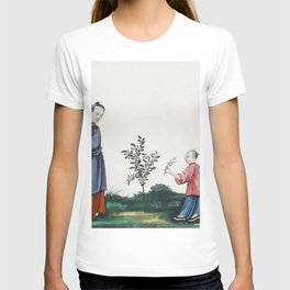 Chinese painting illustrating a mother and a son plucking tea sprouts (ca1800-1899) from the Miriam T-shirt