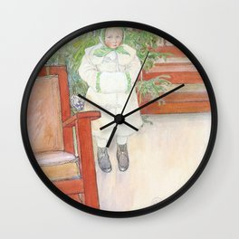 Girl And Rocking Chair - Carl Larsson Wall Clock
