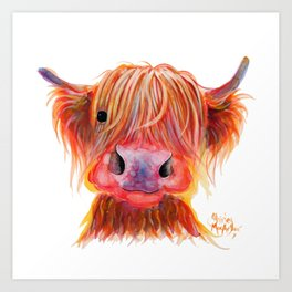 Scottish Highland Cow ' CHILLI CHOPS ' by Shirley MacArthur Art Print