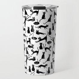 Black cats, seamless patten Travel Mug