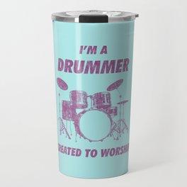 I'm Drummer Created To Worship Funny Drums Vintage Drumming Distressed Travel Mug