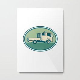 Double Cab Pick-up Truck Oval Woodcut Metal Print