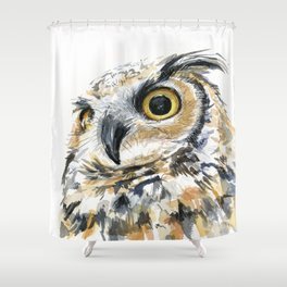 Owl Great Horned Bird of Prey Owls Animals Bird Wildlife Shower Curtain