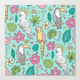 Tropical Jungle Birds Toucan Flamingo and Pink Hibiscus Floral Flowers Leaves Paradise Mint Canvas Print