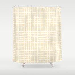 coconut cream thread random cross hatch lines checker pattern Shower Curtain