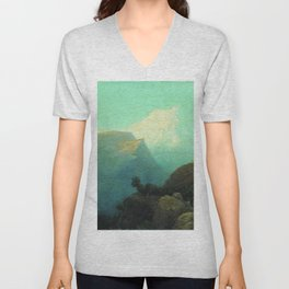 Mist In The Mountains Caucasus 1878 By Lev Lagorio | Reproduction | Russian Romanticism Painter Unisex V-Neck