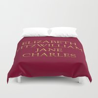 pride and prejudice Duvet Covers featuring Characters from Pride & Prejudice by Bookish and Wonderful