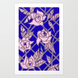 Royal Blue Rose Trellis Art Print