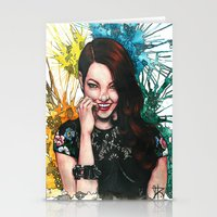 emma stone Stationery Cards featuring Emma Stone by catscratchproject