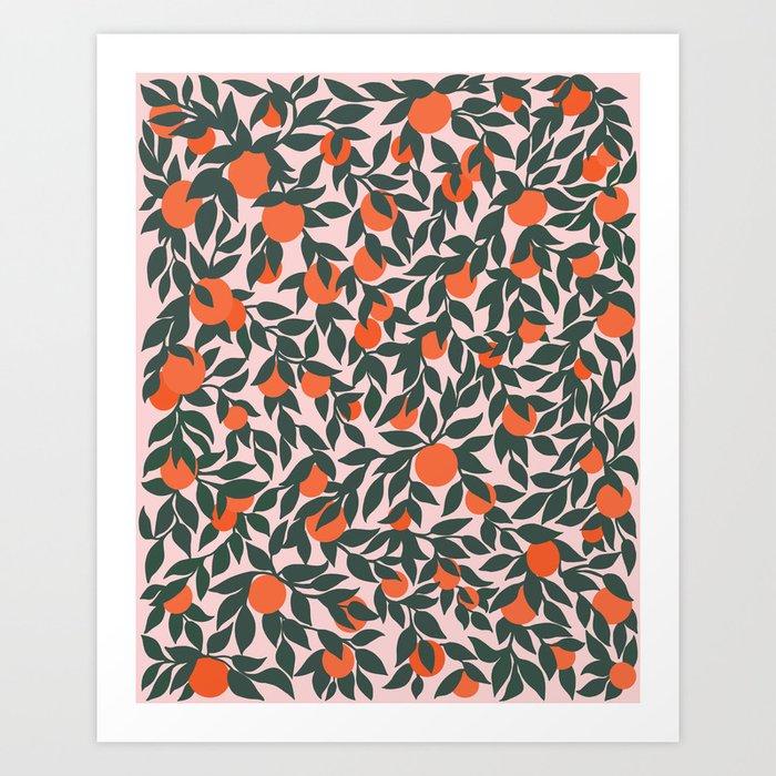 Oranges and Leaves Pattern - Pink Art Print