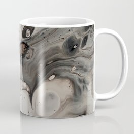 Black and White Abstract Painting - Fluid Pour - Silver Metallic Coffee Mug