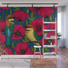 Bee eaters and poppies Wall Mural