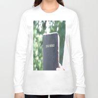 bible verses Long Sleeve T-shirts featuring Holy Bible w/ bokeh by Hannah Chapman