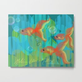 The Three Itty Bitties - Fish with an Orange Yellow Blue and Green Palette Metal Print