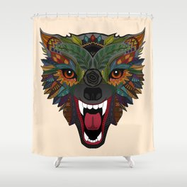 wolf fight flight ecru Shower Curtain