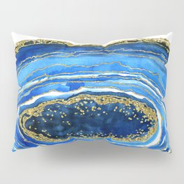 Cobalt blue and gold geode in watercolor Pillow Sham
