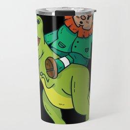 St Patricks Day Leprechaun Trex Dinosaur Kids Boys Travel Mug