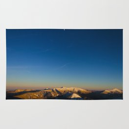 Minimal Landscape Mountains With Blue Sky And Distant Moon Rug