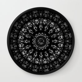 Kaleidoscope crystals mandala in black and white Wall Clock