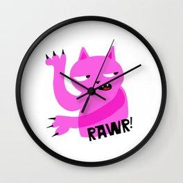 Pink Rawr Cat Wall Clock