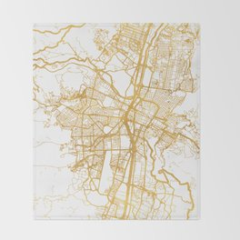 MEDELLÍN COLOMBIA CITY STREET MAP ART Throw Blanket