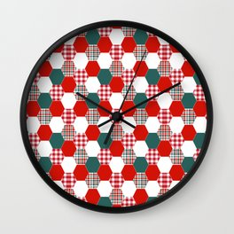 Christmas quilt red and green cute gifts home decor for the holidays Wall Clock