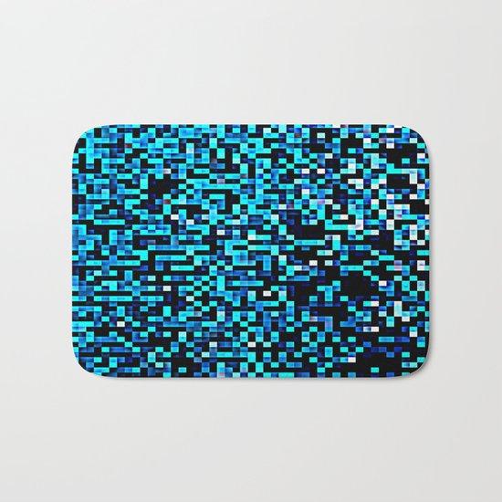 Turquoise Blue Aqua Black Pixels Bath Mat