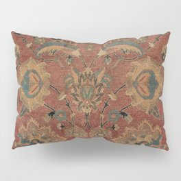 Flowery Boho Rug IV // 17th Century Distressed Colorful Red Navy Blue Burlap Tan Ornate Accent Patte Pillow Sham
