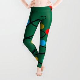 Christmas Tree Minimal Design Art Red Blue Green Leggings