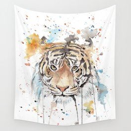 """Watercolor Painting of Picture """"Portrait of a Tiger"""" Wall Tapestry"""