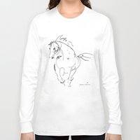 wind Long Sleeve T-shirts featuring Horse (Wind) by Paper Horses