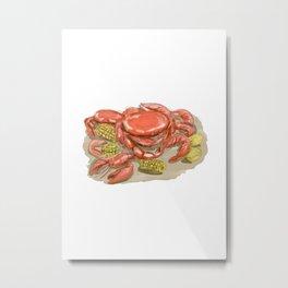 Cajun Seafood Watercolor Metal Print