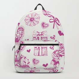 Valentine day pattern with hearts and giftboxes. Backpack